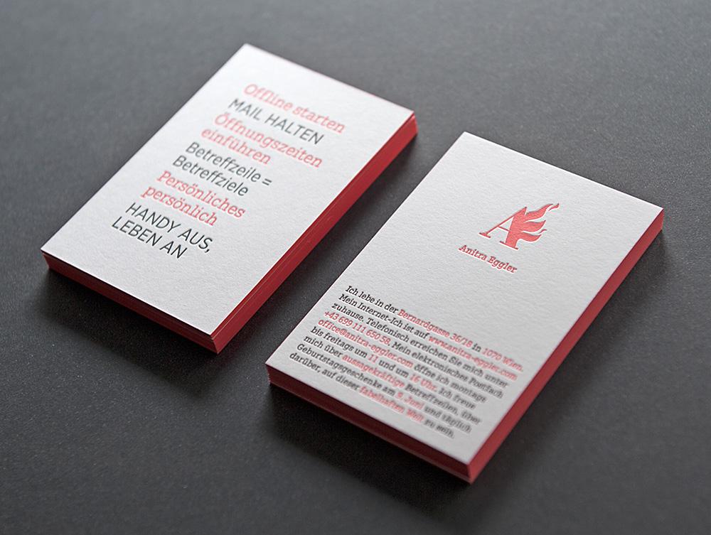 Anitra Eggler Letterpress-Visitenkarten