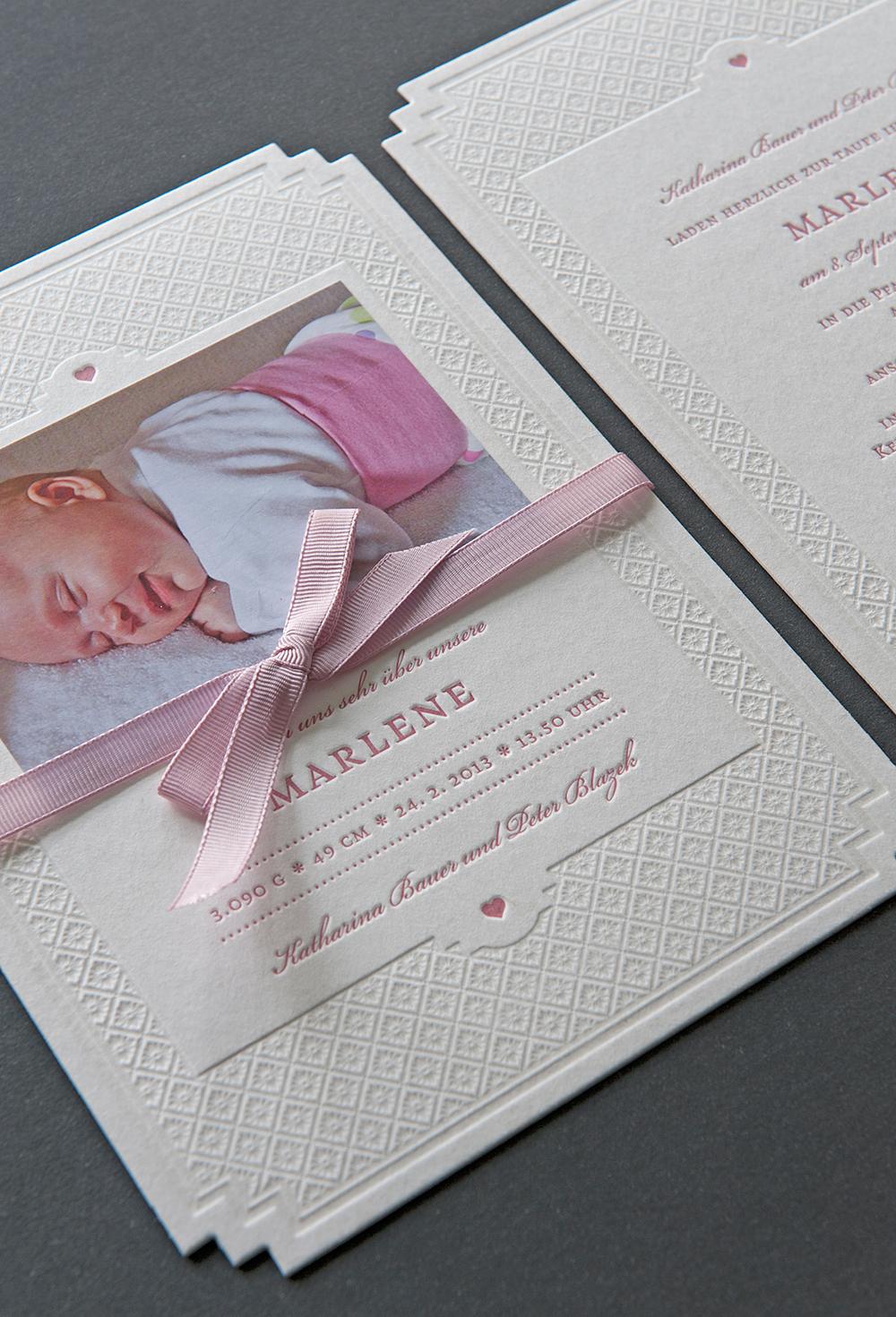 """Letterpress Geburtsanzeige """"Marlene"""""""