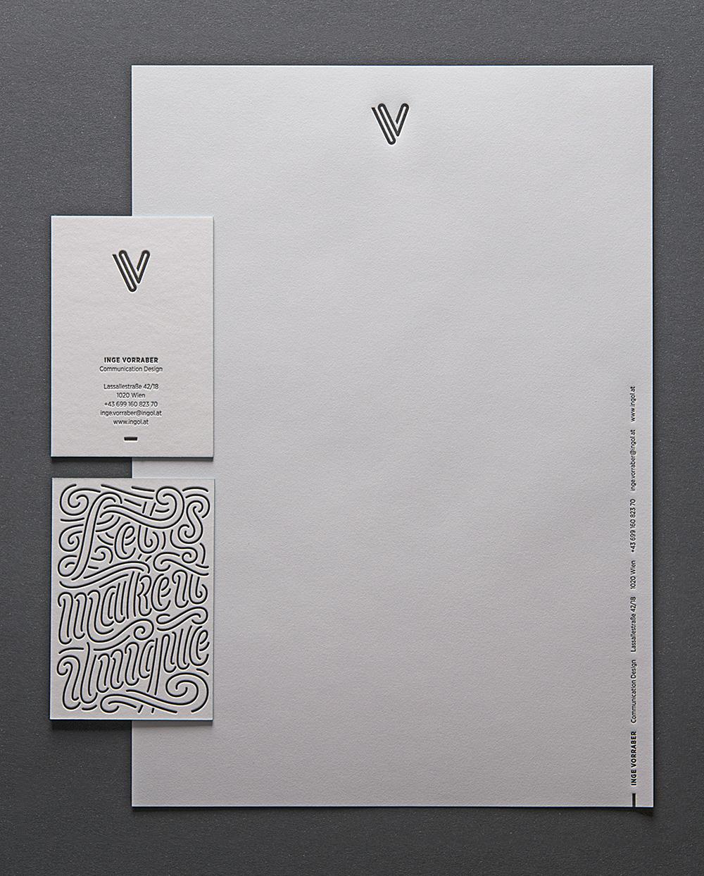 Inge Vorraber Letterpress-Visitenkarten