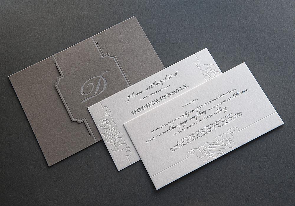Letterpress Einladung Hochzeitsball