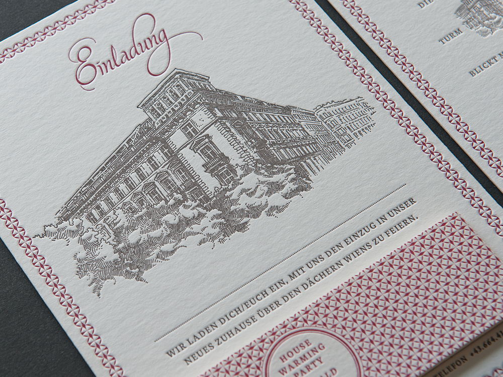 Letterpress Einladung House Warming Party