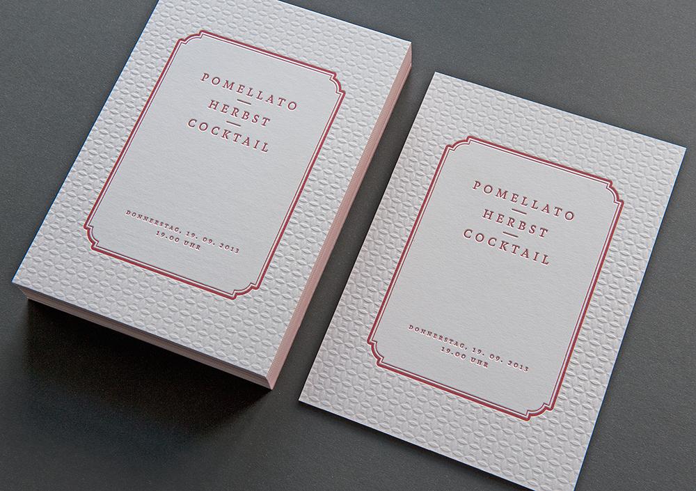 Letterpress Einladung Pomellato