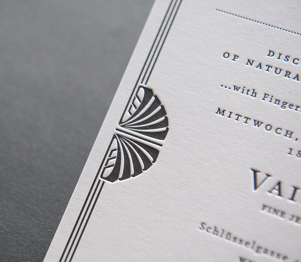 Letterpress Einladung Vainard