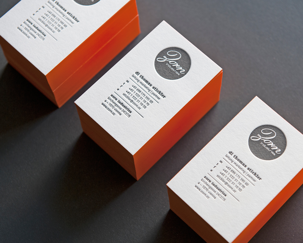 Letterpress Visitenkarten Zorn Industries
