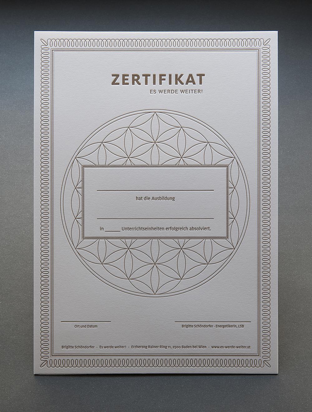Letterpress Zertifikat