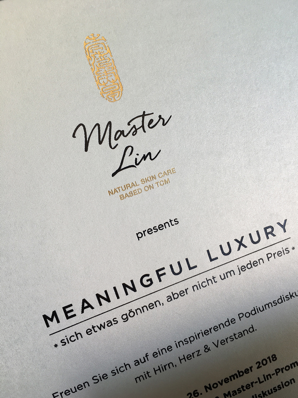 Master Lin, Meaningful Luxury